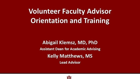 Thumbnail for entry Volunteer Faculty Advisor Orientation 2016