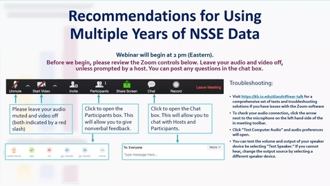 Thumbnail for entry Recommendations for Using Multiple Years of NSSE Data
