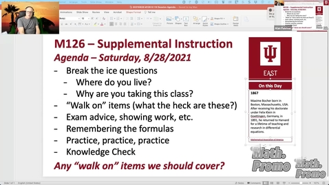 Thumbnail for entry FA21 M126 Week 1 Session 2 – Student Questions and Section 6.1
