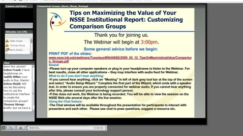 Thumbnail for entry Tips on Maximizing the Value of Your NSSE Institutional Report: Customizing Comparison Groups