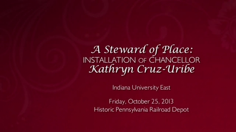 Thumbnail for entry IUE Chancellor Cruz-Uribe Installation Ceremony