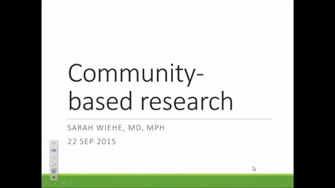 Thumbnail for entry Community Based Research Wiehe 22Sept15