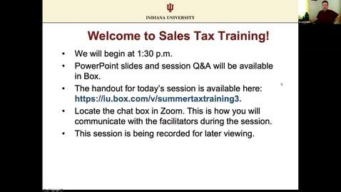Thumbnail for entry Summer Tax Training Series 2020 - Sales Tax
