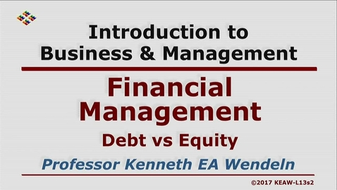 Thumbnail for entry X100 13-2 Debt vs Equity