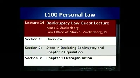Thumbnail for entry L100 14-2 Steps in Declaring Bankruptcy and Chapter 7 Liquidation