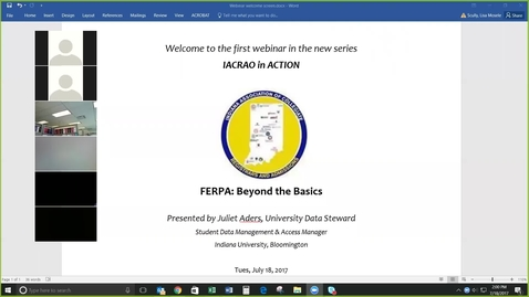 Thumbnail for entry IACRAO FERPA Webinar introduction - Clipped by Lisa Scully