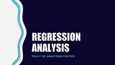 Thumbnail for entry Basics of Regression Analysis