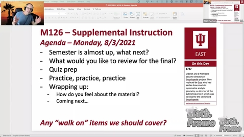 Thumbnail for entry SU21 M126 Week 11 Session 1 - Student Questioms and 8.3 & 8.5 Quiz Prep