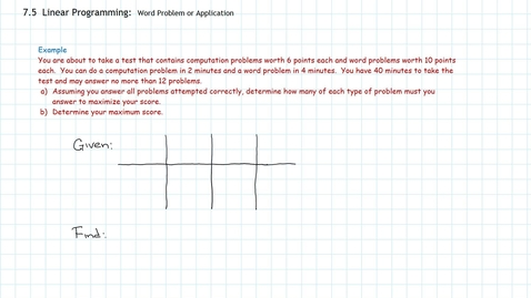 Thumbnail for entry Linear Programming:  Word Problem, Application