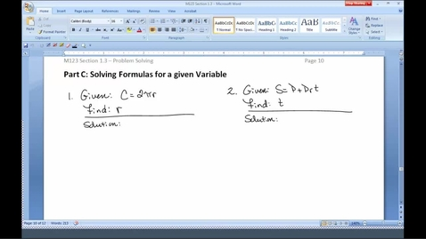 Thumbnail for entry M123 Section 1.3C Solving Formulas