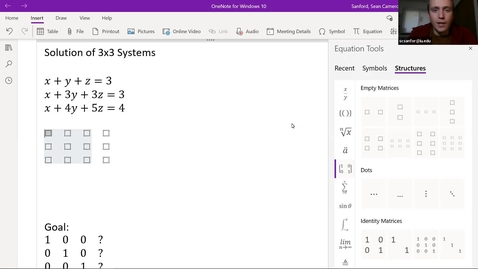 Thumbnail for entry Alg 3.4: Solving 3x3 Linear Systems using Matrices - Intro example