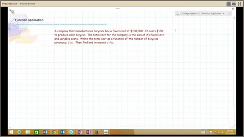 Thumbnail for entry B111 M123 College Algebra, Function Application, 2.1