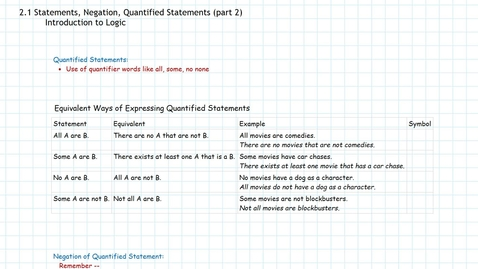 Thumbnail for entry Logic: Quantified Statements, Negations