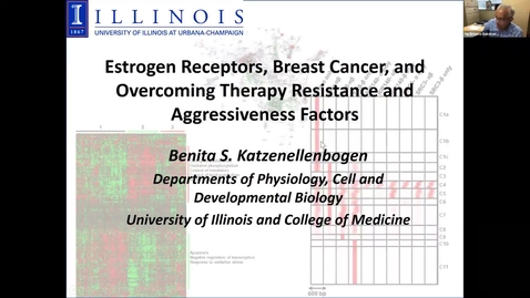 """Thumbnail for entry IUSCCC Virtual Seminar Series 1/28/2021: """"Breast Cancer, Estrogen Receptors, and Overcoming Therapy Resistance and Aggressiveness Factors"""" Benita Katzenellbogen, PhD, Swanlund Professior, Departments of Molecular and Integrative Physiology Cell and Dev"""