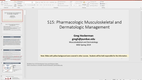 Thumbnail for entry IUSM WL, MSK, Pharmacology, 190117, Hockerman