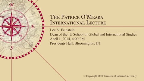 Thumbnail for entry Patrick O'Mera International Lecture - Lee Feinstein