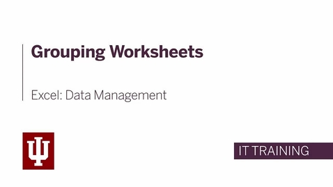 Thumbnail for entry Excel: Data Management - Grouping Worksheets