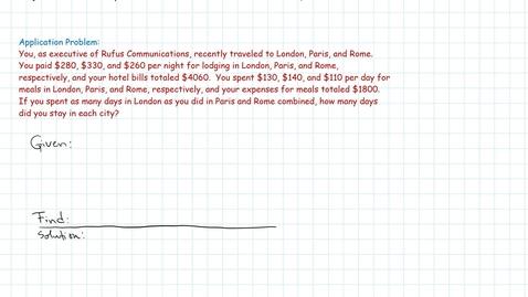 Thumbnail for entry Gauss-Jordan Elim Method: Word Application Example