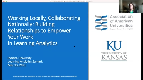 Thumbnail for entry Working Locally, Collaborating Nationally: Building Relationships to Empower Your Work in Learning Analytics