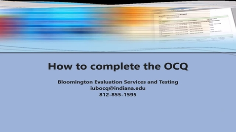Thumbnail for entry How to complete the OCQ