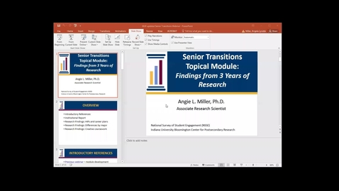 Thumbnail for entry Senior Transitions Topical Module: Findings from 3 Years of Research