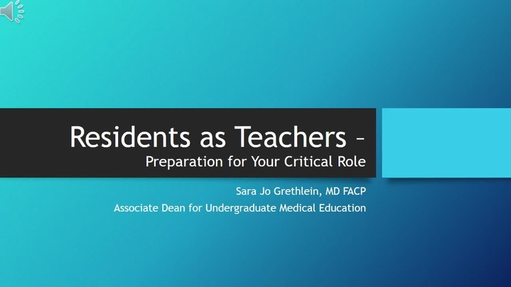 Thumbnail for channel Residents as Teachers