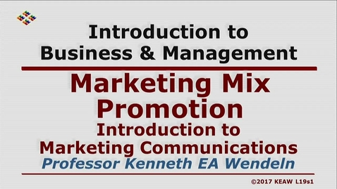 Thumbnail for entry X100 19-1 Introduction to Marketing Communications