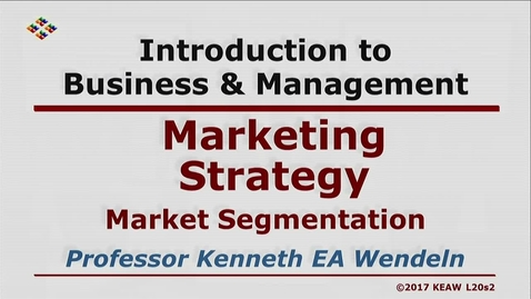Thumbnail for entry X100 20-2 Market Segmentation