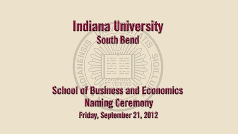Thumbnail for entry IU South Bend School of Business and Economics named in honor of Judd Leighton
