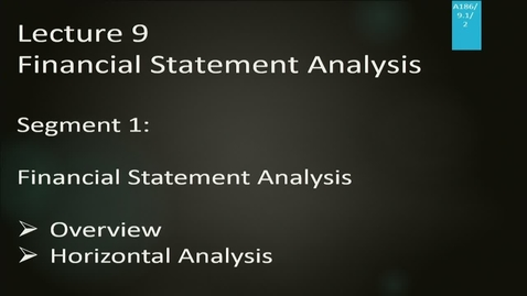 Thumbnail for entry A186 09-1 Financial Statement Analysis
