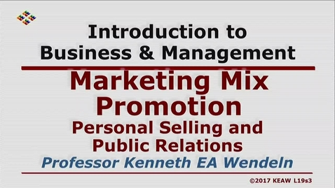 Thumbnail for entry X100 19-3 Personal Selling and Public Relations