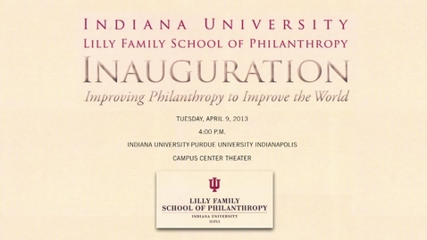 Thumbnail for entry School of Philanthropy to be Inaugurated at IUPUI