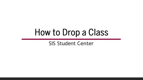 Thumbnail for entry How to Drop a Class