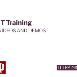 Thumbnail for channel IT Training Videos and Demos