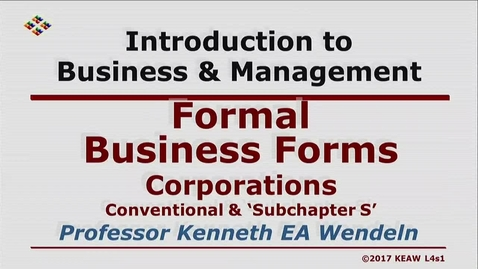 Thumbnail for entry X100 04-1 Corporations, Conventional & Subchapter S