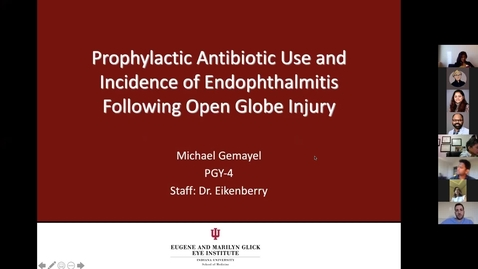 Thumbnail for entry Prophylactic antibiotic use and incidence of endophthalmitis following open globe injury