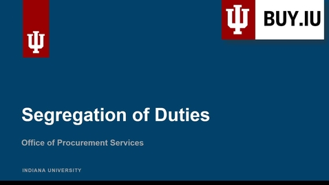 Thumbnail for entry Segregation of Duties