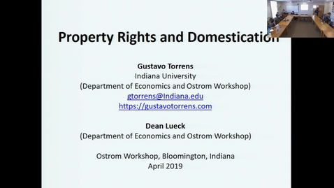 "Thumbnail for entry 04/01/2019 Colloquium Series - Gustavo Torrens: ""Property Rights and Domestication"""