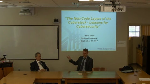 "Thumbnail for entry 09/28/2017 Cybersecurity and Internet Governance Speaker Series - Peter Swire: ""The Non-Code Aspects of Cybersecurity"""