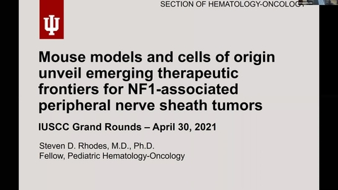 """Thumbnail for entry IUSCCC Grand Rounds 4/30/2021: """"Mouse models and cells of origin unveil emerging therapeutic frontiers for NF1-associated peripheral nerve sheath tumors"""" Steven Rhodes, MD IUSM"""