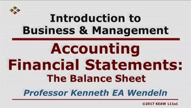 Thumbnail for entry X100 11-1 The Balance Sheet