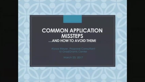 Thumbnail for entry Common Missteps...Common Missteps and How to Avoid Them