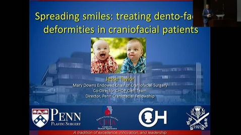 """Thumbnail for entry Peds_GrRds 5/3/2017: """"Spreading Smiles: The importance of appearance in the craniofacial population"""" Jesse A. Taylor, MD, FACS"""