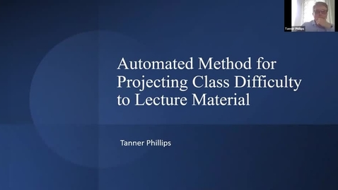 Thumbnail for entry Automated Methods for Projecting Class Difficulty Onto Lecture Material