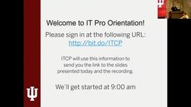 Thumbnail for entry IT Pro Orientation 15 Nov 2018 - Part 1