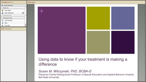 Thumbnail for entry Using data to know if your treatment is making a difference (S. Wilczynski, Ball State)