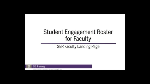 Thumbnail for entry 1. SER Faculty Landing Page - Spring 2018