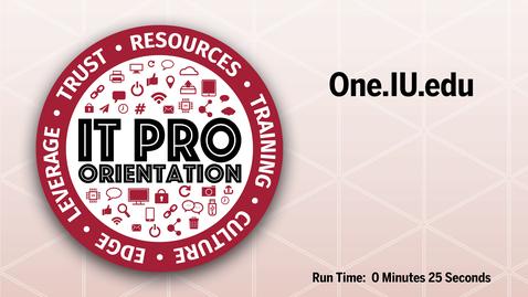 Thumbnail for entry One.IU.edu