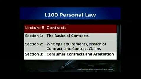 Thumbnail for entry L100 08-3 Consumer Contracts & Arbitration