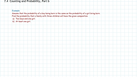 Thumbnail for entry Counting and Probability, Part b, Examples
